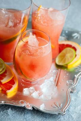 Salmon pink flamingo alcoholic cocktail