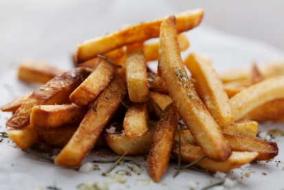 Healthy fish and chips with vinegar