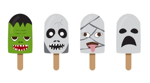 Set of ice cream with fantasy character face